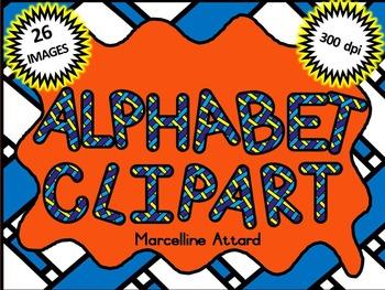 STRIPY ALPHABET CLIPART: UPPERCASE LETTERS CLIPART: STRIPY