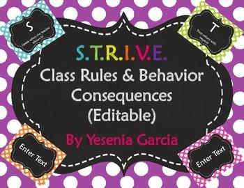 S.T.R.I.V.E. Class Rules & Behavior Consequences (Editable