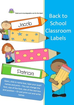 BACK TO SCHOOL LABELS - STUDENT/PUPIL/CHILD BLANK/EDITABLE