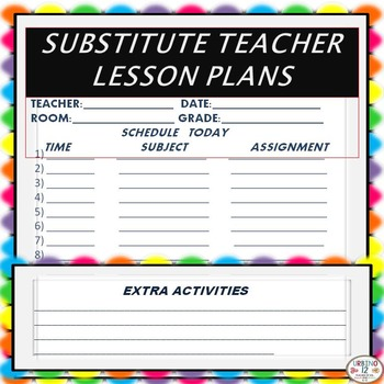 SUBSTITUTE TEACHER LESSON FORM