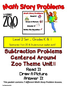 SUBTRACTION FROM 20 MATH WORD PROBLEMS ** ZOO UNIT** READ.