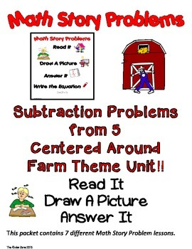 SUBTRACTION FROM 5 MATH WORD PROBLEMS *FARM UNIT* --READ.D