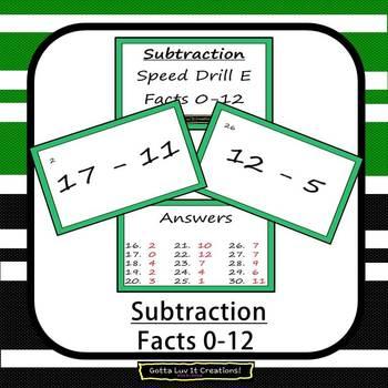 Editable Math Facts Subtraction Fluency - 5 PowerPoints