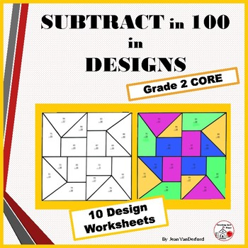 SUBTRACTION Problems | Color by Number Geometric Design Wo
