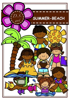 SUMMER - BEACH Digital Clipart (color and black&white)