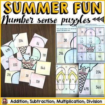 SUMMER FUN: NUMBER PUZZLES {Addition, Subtraction, Multipl