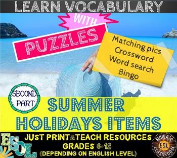 SUMMER HOLIDAYS ITEMS (ESL): 4 VOCABULARY PUZZLES [PART 2]
