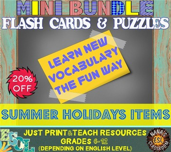 SUMMER HOLIDAYS ITEMS (ESL): MINI BUNDLE (flash cards and