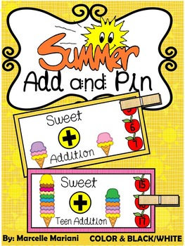 SUMMER- MATH CENTER- Add and Pin (1-10 and 10's &1's) Colo
