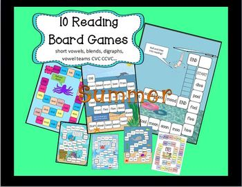 SUMMER Reading Board Games-DIGRAPHS-SILENT E-VOWEL TEAMS