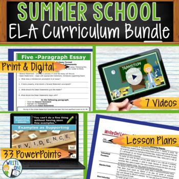 SUMMER SCHOOL ELA CURRICULUM BUNDLE!!!!! - Middle School