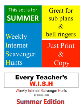 SUMMER edition of WEEKLY INTERNET SCAVENGER HUNTS