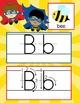 SUPER HERO - Alphabet Cards, Handwriting, Flash Cards, ABC
