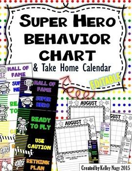 SUPER HERO Behavior Clip Chart and Calendar - EDITABLE