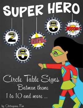 SUPER HERO - Classroom Decor: Batman Theme Table Numbers a