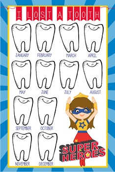SUPER HERO - Classroom Decor: I lost a TOOTH - size 24 x 36