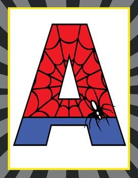 SUPER HERO - Classroom Decor: SPIDERMAN Banner LETTERS