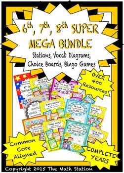SUPER MEGA BUNDLE 6th 7th 8th Math Stations, ChoiceBoards,