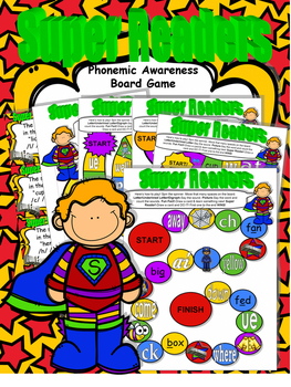 SUPER Readers! Phonemic Awareness Board Game