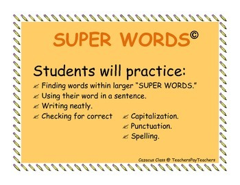 SUPER WORDS  sentences, capitalization, punctuation, spelling