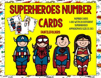 SUPERHERO NUMBER CARDS