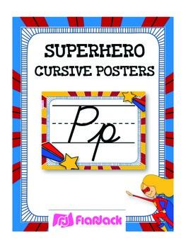 SUPERHERO Themed Cursive Alphabet Posters