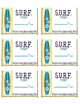 Beach them ***  SURF ***  Student Organization Folder Stickers