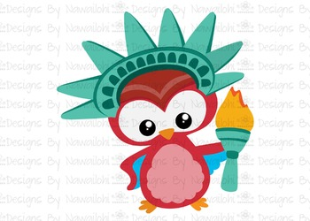 SVG, DXF, Pdf, Studio3 Cut file CF32 Independence Day Owl Liberty