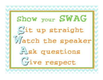 SWAG Poster (classroom management)