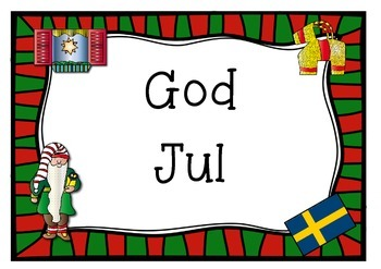 SWEDEN SWEDISH  merry christmas 1 page poster  GOD JUL