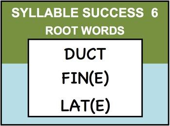 SYLLABLE SUCCESS 6  - PREFIXES, SUFFIXES, ROOT WORDS