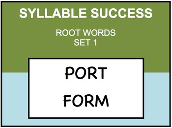 SYLLABLE SUCCESS 1 - PREFIXES, SUFFIXES, ROOT WORDS