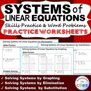 SYSTEMS OF LINEAR EQUATIONS Homework Worksheets: Skills Pr