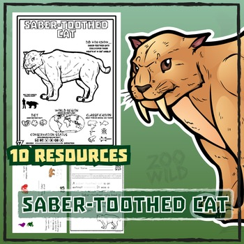 Saber-Toothed Cat -- 10 Resources -- Coloring Pages, Readi