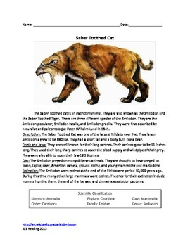 Saber Toothed Cat - Review Article Questions Vocabulary Hi