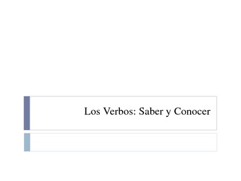 """Saber y Conocer / """"To know"""" in Spanish"""