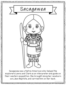 Sacagawea Coloring Page Activity or Poster with Mini Biogr