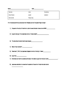 Sadako Quiz for chapter 1 & 2