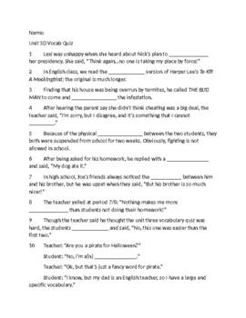 Sadlier-Oxford Level D Unit 3 Vocabulary Quiz