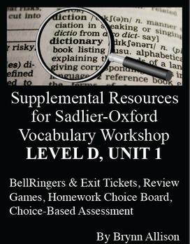 Sadlier-Oxford Level D Vocabulary Supplemental Resources: Unit 1