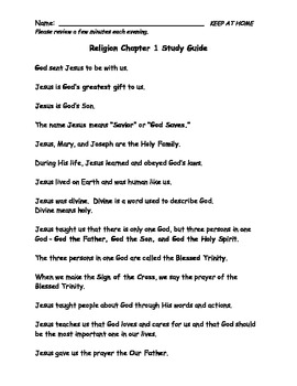 Sadlier We Believe Grade 2 Chapter 1 Study Guide