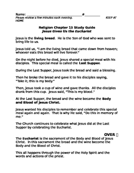 Sadlier We Believe Unit 3 First Eucharist Study Guides and