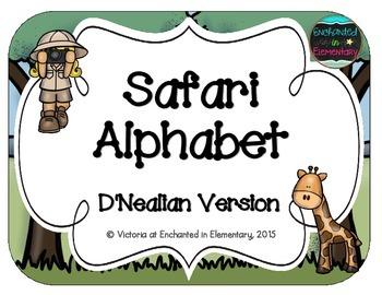 Safari Alphabet Cards: D'Nealian Set