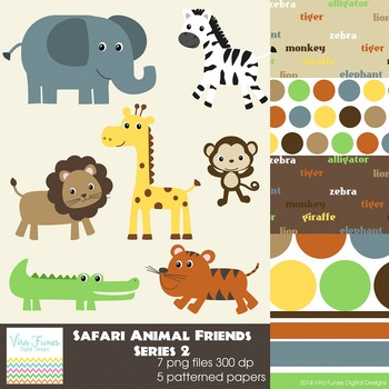 Safari Animal Friends Series 3 Digital Clipart, clip art