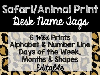 Safari / Animal Print Classroom Decor: Desk Name Tags