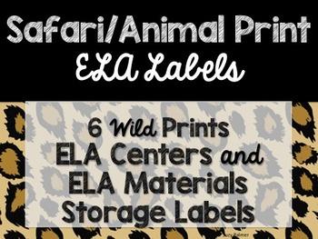 Safari / Animal Print Classroom Decor: Literacy Center Labels