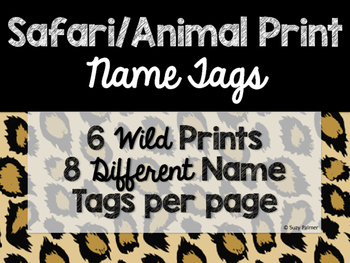 Safari / Animal Print Classroom Decor: Name Tags
