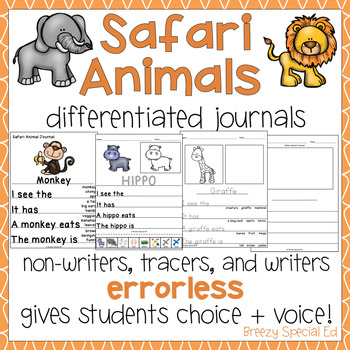 Safari Animals Differentiated Journal Writing for Special