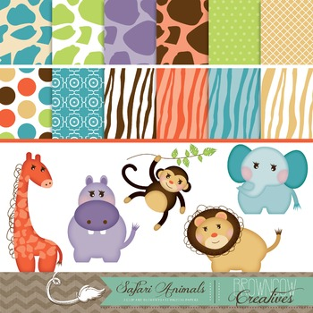 Safari Clipart & Backgrounds BUNDLE