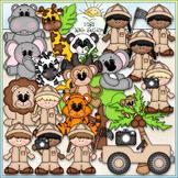 Safari Fun Clip Art - Jungle Animals Clip Art - CU Clip Art & B&W
